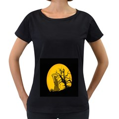 Death Haloween Background Card Women s Loose-Fit T-Shirt (Black)