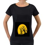 Death Haloween Background Card Women s Loose-Fit T-Shirt (Black) Front