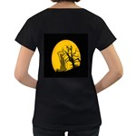 Death Haloween Background Card Women s Loose-Fit T-Shirt (Black) Back