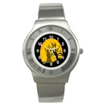 Death Haloween Background Card Stainless Steel Watch Front