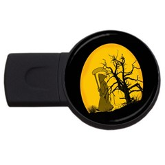 Death Haloween Background Card USB Flash Drive Round (4 GB)