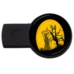 Death Haloween Background Card USB Flash Drive Round (4 GB)  Front