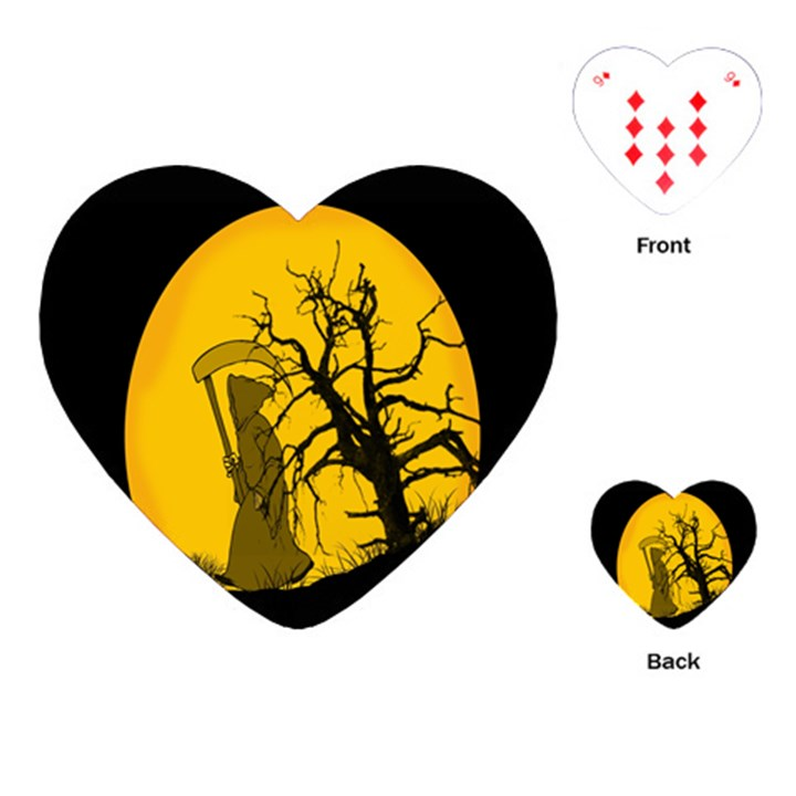 Death Haloween Background Card Playing Cards (Heart)