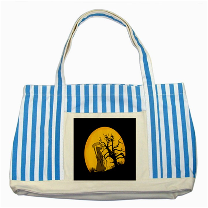 Death Haloween Background Card Striped Blue Tote Bag