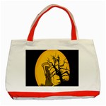 Death Haloween Background Card Classic Tote Bag (Red) Front