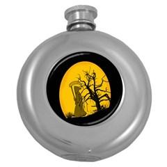 Death Haloween Background Card Round Hip Flask (5 oz)