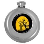 Death Haloween Background Card Round Hip Flask (5 oz) Front