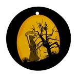 Death Haloween Background Card Round Ornament (Two Sides)  Front