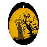 Death Haloween Background Card Oval Ornament (Two Sides) Back