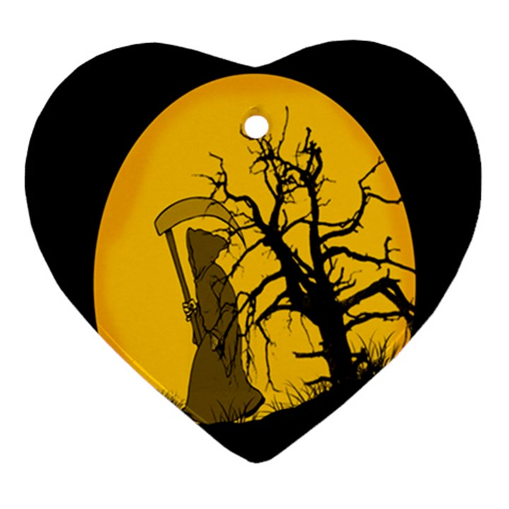 Death Haloween Background Card Heart Ornament (2 Sides)
