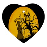 Death Haloween Background Card Heart Ornament (2 Sides) Back