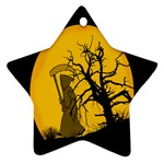 Death Haloween Background Card Star Ornament (Two Sides)  Front