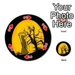 Death Haloween Background Card Playing Cards 54 (Round)  Front - Heart2
