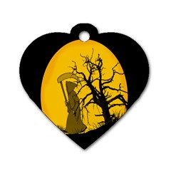 Death Haloween Background Card Dog Tag Heart (Two Sides)
