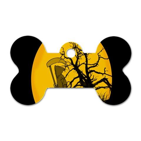 Death Haloween Background Card Dog Tag Bone (One Side)
