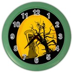 Death Haloween Background Card Color Wall Clocks Front