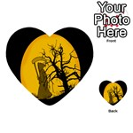 Death Haloween Background Card Multi-purpose Cards (Heart)  Back 1