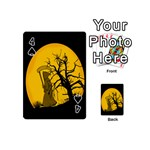 Death Haloween Background Card Playing Cards 54 (Mini)  Front - Spade4