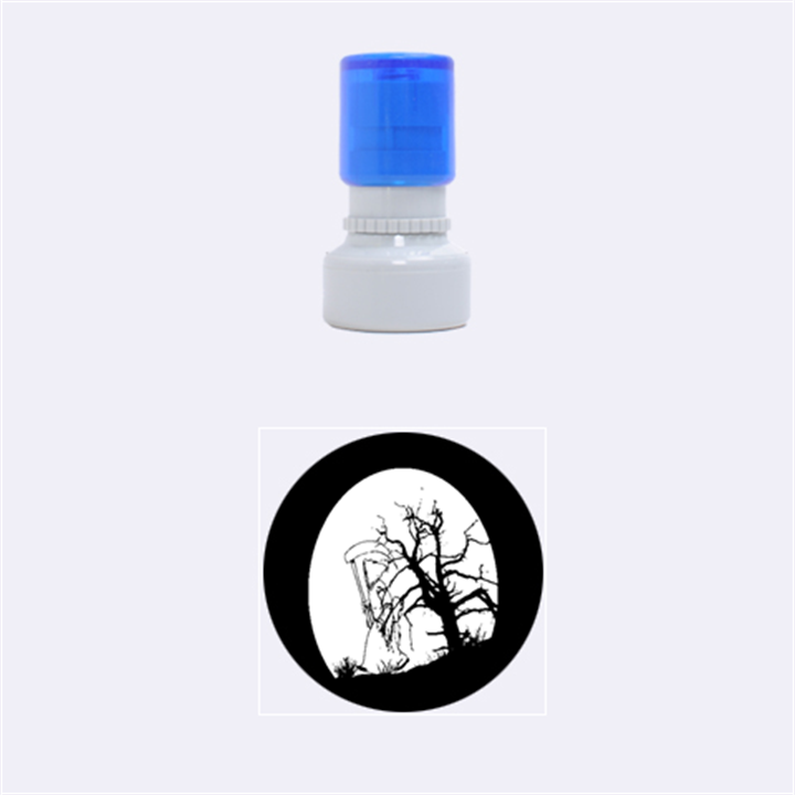 Death Haloween Background Card Rubber Round Stamps (Small)