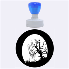 Death Haloween Background Card Rubber Round Stamps (Large)