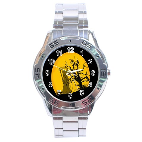 Death Haloween Background Card Stainless Steel Analogue Watch
