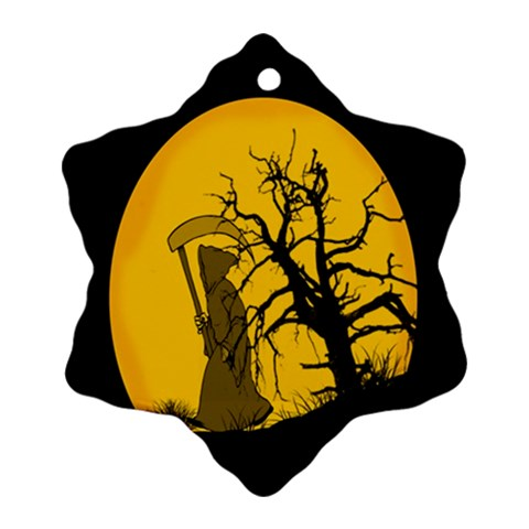 Death Haloween Background Card Snowflake Ornament (2-Side)