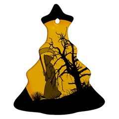 Death Haloween Background Card Christmas Tree Ornament (2 Sides)