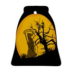 Death Haloween Background Card Bell Ornament (2 Sides) Back