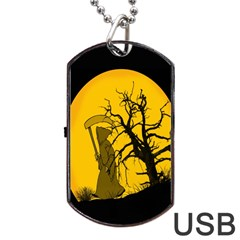 Death Haloween Background Card Dog Tag USB Flash (One Side)