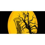 Death Haloween Background Card Twin Heart Bottom 3D Greeting Card (8x4) Front