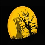 Death Haloween Background Card #1 DAD 3D Greeting Card (8x4) Inside
