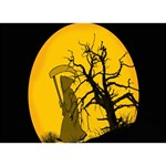 Death Haloween Background Card TAKE CARE 3D Greeting Card (7x5) Back