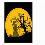 Death Haloween Background Card Small Garden Flag (Two Sides) Back