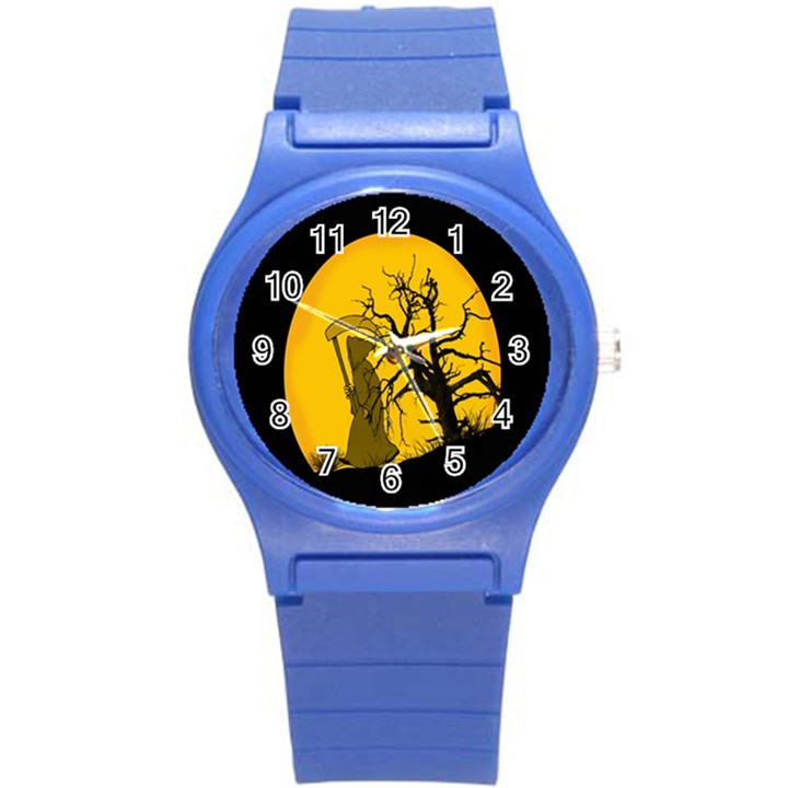 Death Haloween Background Card Round Plastic Sport Watch (S)
