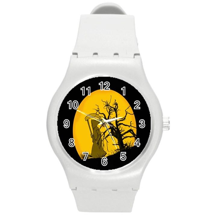 Death Haloween Background Card Round Plastic Sport Watch (M)