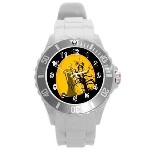 Death Haloween Background Card Round Plastic Sport Watch (L)