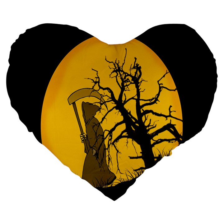 Death Haloween Background Card Large 19  Premium Heart Shape Cushions