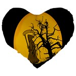 Death Haloween Background Card Large 19  Premium Heart Shape Cushions Back