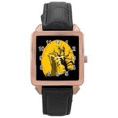 Death Haloween Background Card Rose Gold Leather Watch