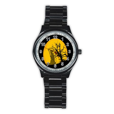 Death Haloween Background Card Stainless Steel Round Watch