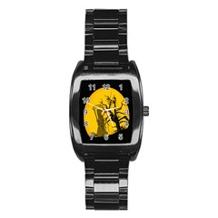 Death Haloween Background Card Stainless Steel Barrel Watch