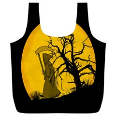 Death Haloween Background Card Full Print Recycle Bags (L)