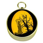 Death Haloween Background Card Gold Compasses Front