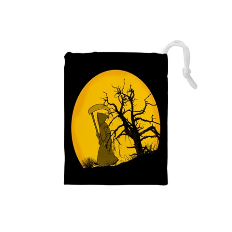 Death Haloween Background Card Drawstring Pouches (Small)