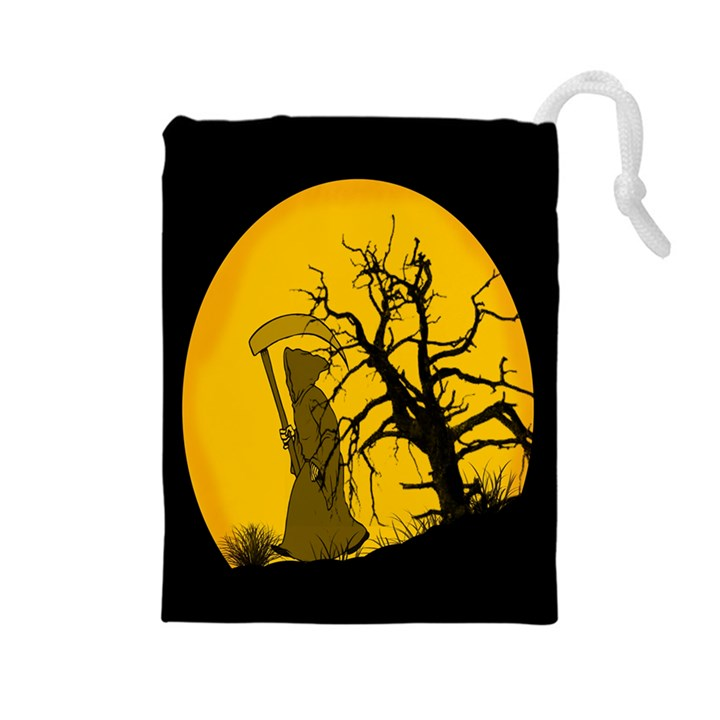 Death Haloween Background Card Drawstring Pouches (Large)