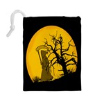 Death Haloween Background Card Drawstring Pouches (Large)  Back