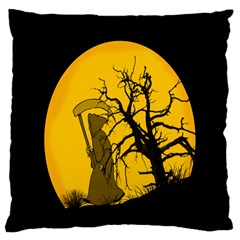 Death Haloween Background Card Large Flano Cushion Case (Two Sides)