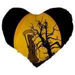 Death Haloween Background Card Large 19  Premium Flano Heart Shape Cushions Back