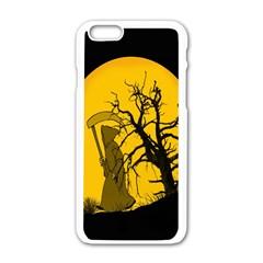 Death Haloween Background Card Apple iPhone 6/6S White Enamel Case