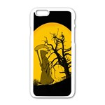Death Haloween Background Card Apple iPhone 6/6S White Enamel Case Front